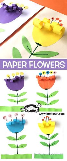 """Easy Peasy and Fun """"Paper Rosette Chick – Easy Easter Paper Craft"""" Simple Everyday Mom """"Handprint Cactus DIY Mother's Day Card"""" Krokotak """"Paper Flowers"""" Art Projects for Kids """"How to Draw a Shamrock"""" Art Projects for Kids """"Easy Abstract Flower Art"""" Kids Crafts, Spring Crafts For Kids, Preschool Crafts, Easter Crafts, Art For Kids, Diy And Crafts, Art Children, Flower Craft Preschool, Flower Crafts Kids"""