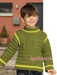 Пуловер фисташкового цвета со структурным узором, для мальчика 2-8 лет. Вязание спицами для мальчиков