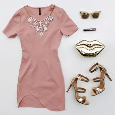 This pink and gold #OOTN is perfect for date night with your #bae. #OOTD #jewelry #heels #gold #lips #clutch #sunglasses #inspiration #inspo #fashion #gojane