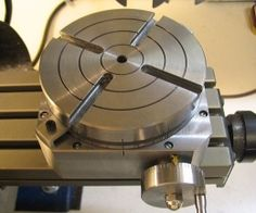 Rotary Table - Homemade rotary table constructed from steel stock, bearings, and off-the-shelf worm and gear.