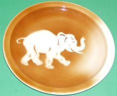 SYRACUSE CHINA SHADOWTONE AIRBRUSHED BROWN ELEPHANT PATTERN