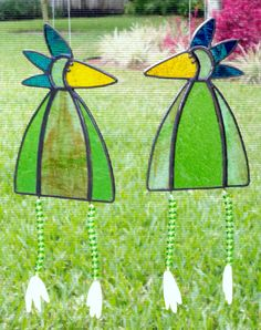 Whimsical Stained Glass Bird Suncatcher with Legs, Green and Blue #341