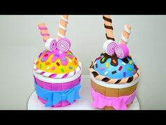 # Inspiration Inspiration e.a cupcake Inspiration … - Schaum Handwerk Tin Can Crafts, Foam Crafts, Diy And Crafts, Cool Christmas Trees, Christmas Candy, Eva Schaum, Ice Cream Crafts, Candy Videos, Cupcake Crafts