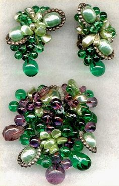 Emerald Green Louis Rousselet Brooch Set