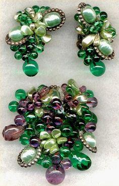 Emerald Green Louis Rousselet Brooch Set