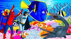 Finding DORY Spiderman, BatMan & Nemo FIND DORY! w/ Superman & Sea monst...