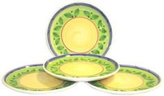 Caleca Girasole 4-Piece Dinner Plate Set, Service for 4 by Caleca. $45.66. Dishwasher safe; microwavable. Includes four art; 409 dinner plates. Chip-resistant. In the Caleca pattern Girasole the colors of the sun and of nature interpret a more intense tone of the Caleca ceramics; Ideal for an impressive presentation for a table dressed in cheerfulness. All natural majolica/ceramic components individually hand-painted with non-toxic glazes and colors. In the Caleca pa...