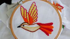 Hand Embroidery: Bird Embroidery (Fly Stitch, Stem Stitch) - YouTube