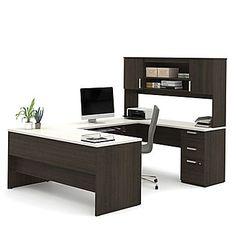 Bestar Ridgeley U-Shaped Desk, Dark Chocolate & White Chocolate (52414-31)