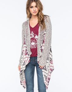 "Vanilla Star mixed stitch fringe cardigan. Featuring an open front with draped sides and open knit collar, this mixed stitch weave on this cardigan pairs well with bold tees and dark denim. 75% cotton/25% acrylic. Machine wash. Imported.<BR><BR>Model is wearing a size small. Model measurements:<BR>Height: 5'8""<BR>Chest: 34""<BR>Waist: 23""<BR>Hips: 34"""