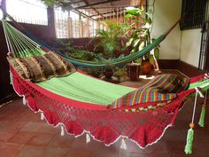 Beautiful Two Colors Double Hammock hand-woven Natural Cotton Special Fringe. @hamanica on Etsy