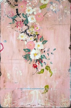 "Kathe Fraga paintings, inspired by the romance of vintage Parisian wallpapers and Chinoiserie Ancienne. ""Bliss"", 24x36, on aged frescoed panel. www.kathefraga.com"