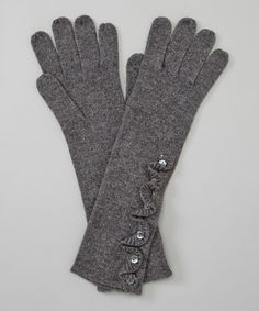 Side-Ruffle Cashmere Gloves