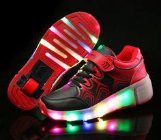 Damen Schuhe Mit Rollen LED Schwarze