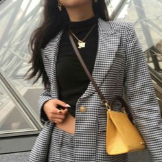 Black High Neck Crop Top | Black & White Checkered Skirt Suit | Dandelion Yellow Crossbody Bag