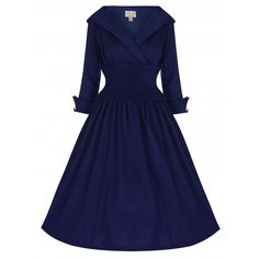 'Ramona' Subtly Seductive 50's Style Swing Dress In Classic Navy (3.455 RUB) ❤ liked on Polyvore featuring dresses, blue, 3/4 sleeve dress, full skirt, navy blue skater skirt, trapeze dress and ruched dress