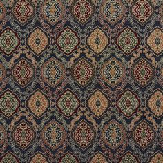Beige or Tan or Taupe and Burgundy or Red or Rust and Coral or Orange or Persimmon and Green and Blue color Country or Lodge or Cabin and Heirloom or Vintage pattern Tapestry type Upholstery Fabric called NAVY HEIRLOOM by KOVI Fabrics