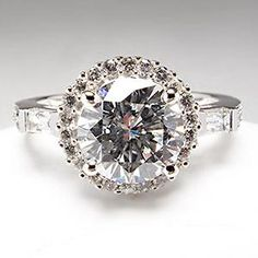 GIA 1.66 Carat F VS1 Diamond Engagement Ring Halo & Baguettes 14K White Gold. Everything I want, diamond, baguettes, and halo :)