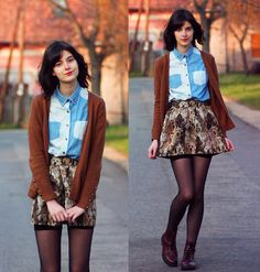 Choies Skirt, Choies Shirt, Zara Cardigan, H&M Boots - Spotting dogs - Nory Aradi