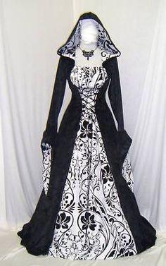 Medieval Gothic Renaissance wedding dress pagan Hooded