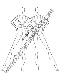 023- female fashion croqui back view pose - FREE download and more croquis in Illustrator & .png at designersnexus.com!