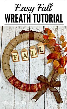 Terrific Pics Fall Burlap Wreath Tutorial: An Easy Craft Decor Idea Ideas Thes… – Fall Wreath İdeas. Easy Fall Wreaths, Thanksgiving Wreaths, Burlap Wreath Tutorial, Fall Wood Signs, Wreath Drawing, Autumn Decorating, Fall Diy, Fall Crafts, Burlap Christmas