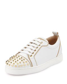 Rush Spiked Leather Low-Top Sneaker, White/Gold by Christian Louboutin at Bergdorf Goodman.