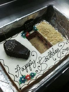"""This would be awesome if the tombstone could say """"one foot in the grave"""".  Would LOVE this for my birthday cake....and some new toy hearses!!!"""