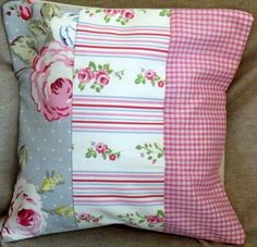 Clarke & Clarke English Rose Patch Work Shabby Chic Cushion Cover