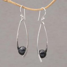Onyx dangle earrings, 'Stellar Cradles' - Onyx and Sterling Silver Dangle Earrings from Bali