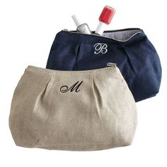 """7.5""""H X 11""""W, 100% natural flax linen, cotton lining. Voyage Pleated Cosmetic Bag   Mark and Graham $35"""