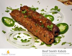 BEEF SEEKH KABOB                             . Minced beef on skewers marinated with dry grinded South Asian herbs & spices.