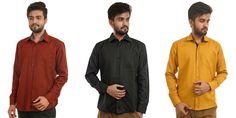 Mark Polo London Set Of 3 Solid Men's Formal Shirts In Multicolor  #Menshirts #menshirtsonline #Bestpriceshirts #Shirtsonline