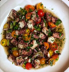 This grilled octopus salad will blow you away. Tender pieces of octopus grilled to perfection and combined with fresh ingredients. Seafood Salad, Fresh Seafood, Seafood Dishes, Fish And Seafood, Fish Recipes, Salad Recipes, Calamari Recipes, Best Seafood Recipes, Lunch Recipes