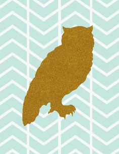 owl herringbone free gold glitter printable - also has one with deer head
