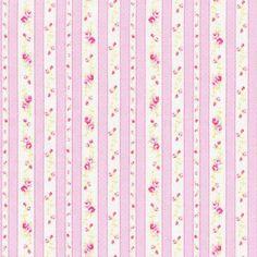 Lecien Petit Fleur Basics 2015, Pink Ticking Stripes with Tiny Roses, Half Yard, Japanese Fabric
