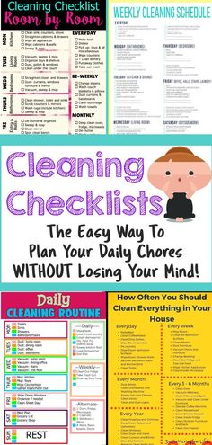 Cleaning checklists to plan your daily houseworkRealistic cleaning checklists for normal families with busy mothers. These cleaning plans help you plan your daily chores to keep your house clean and organized without feeling overwhelmed.