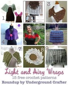 Roundup: 15 free crochet patterns for light and airy wraps, shawls, ponchos, and collars, curated by Underground Crafter