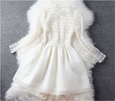 Creamy Pearl Beaded Lace Dress