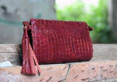 Red Clutch Bag - Evening Envelope Purse or Bag in crocodile print effect leather by EleannaKatsira on Etsy Red Clutch, Clutch Bag, Leather Tassel, Suede Leather, Handmade Purses, Crocodile, My Design, Im Not Perfect, Make It Yourself