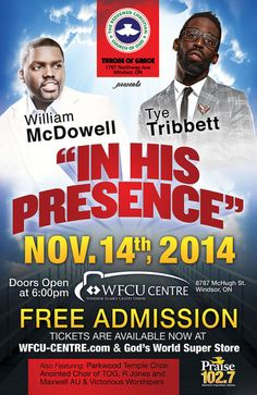 2nd annual free Gospel concert offered to Windsor and the surrounding area. Get your tickets while they're still available!