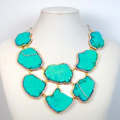 Turquoise crystal statement necklace