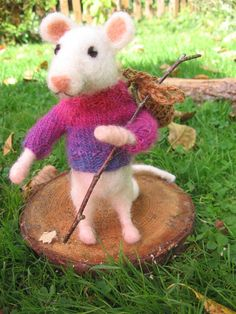 Naaldvilten muis. Naaldvilt dier. Handgemaakt. Wollen door Artywool