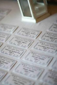 We made our place cards to look like train tickets. Fitting since we were at an old train station :)