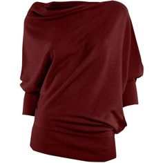 Max Studio Drape Knit Jumper, Plum ($30) ❤ liked on Polyvore featuring tops, sweaters, shirts, blouses, 3/4 sleeve tops, 3/4 sleeve shirts, knit shirt, red shirt and 3/4 sleeve sweaters