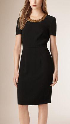 Black Embellished Satin-Back Crepe Shift Dress - Image 1