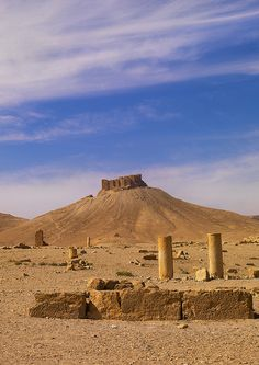 Hilltop Fort In The Ancient Roman city of Palmyra, Syria.
