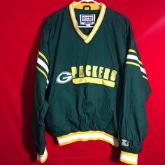 Vintage Green Bay packers stater Greenbay Packers, Vintage Green, Green Bay, Nfl, Yellow, Jackets, Down Jackets, Nfl Football, Jacket