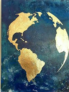 Gold leaf map of the world with ocean background by - Art Design - Map art map Items similar to Gold leaf map of the world with ocean background gold leaf world map gold leaf globe of the world on Etsy World Map Painting, World Map Art, Toile D'or, Ocean Backgrounds, Gold Leaf Art, Globe Art, Mural Art, Painting Inspiration, Art Projects
