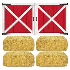 These Barn Loft Door & Hay Bales Props to turn your party into a hoedown in the barn.